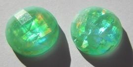 Cabochon Resin Facet Opaal Munt 18 mm Felgroen G368 (per 2)