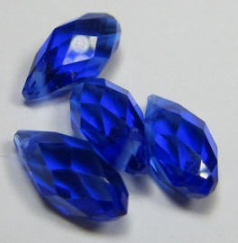 Faceted Drops 12 x 6 mm Dark Sapphire (per 4 drops)
