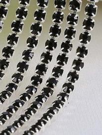 Cup Chain SS6 2 mm Silver - Black (per 50 cm)
