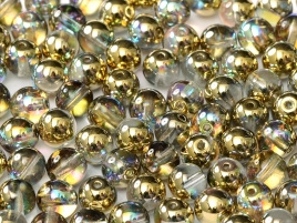 Druk Beads 6 mm Crystal Golden Rainbow (per 20)