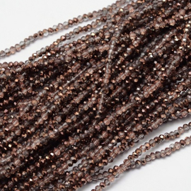 Faceted Rondelles 2 x 3 mm Crystal Copper Plated F1166 (per 148 beads)