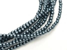 Glass Pearls Dark Cyan 4 mm (46 cm strand)