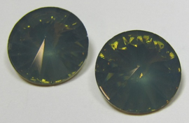 Resin Rivoli 16 mm Dark Army Green Opal (per 2)