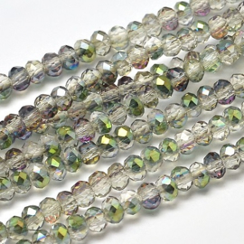 Faceted Rondelles 2 x 3 mm Crystal Green Plated F1150 (per 148 beads)