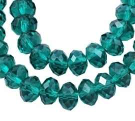 Faceted Rondelles 6 x 8 mm Emerald F363 (per 71 beads)