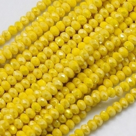 Faceted Rondelles 2 x 3 mm Opaque Yellow AB F935 (per 138 beads)