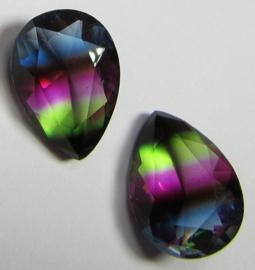 Glass Drop 13 x 18 mm Unfoiled Dual Coated Green/Purple/Blue (per 1)