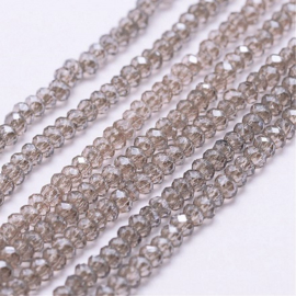 Faceted Rondelles 1,5 x 2 mm Luster Transparent Lilac F1337 (per 198 beads)