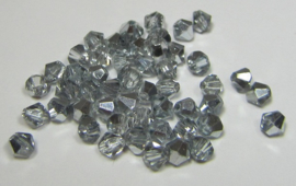 Glass Bicones 4 mm Coated Silver Gray (per 50)