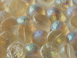 Dome Beads 10 x 6 mm Crystal Etched Lemon Rainbow (per 5)