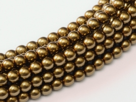 Glass Pearls Brass 6 mm (28 cm strand)