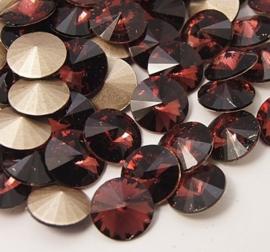Glass Rivoli 12 mm Red Amethyst (per 2)