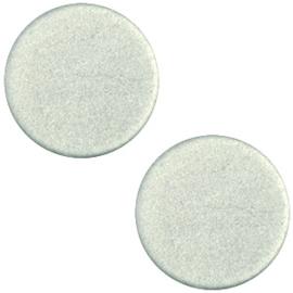 Polaris Cabochon Coin Flat 12 mm Soft Matt Green Grey (per 1)