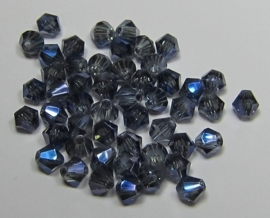 Glass Bicones 4 mm Dull Blue Plated (per 50)
