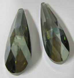 Glass Drop 75 x 21 mm Luster Transparent Green (per 1)