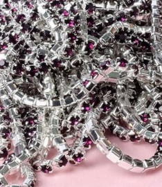 Cup Chain SS6 2 mm Silver - Dark Purple (50 cm)