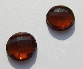 Cabochon Acrylic Faceted Coin 8 mm Orange Brown G308-D (per 16)