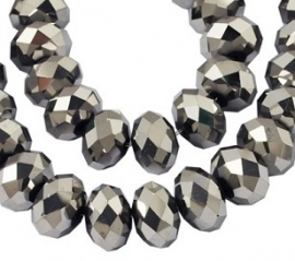 Faceted Rondelles 2 x 3 mm Silver Plated F769 (per 148 beads)