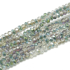 Faceted Rondelles 1,5 x 2 mm Half Plated Green F1330 (per 198 beads)