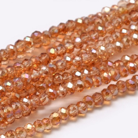 Faceted Rondelles 2 x 3 mm Luster Orange F1139 (per 148 beads)
