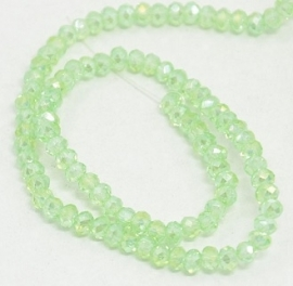 Faceted Rondelles 2 x 3 mm Light Peridot AB F787 (per 98 beads)