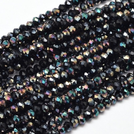 Faceted Rondelles 2 x 3 mm Opaque Black Rainbow Plated F1123 (per 148 beads)