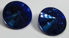 Glass Rivoli 18 mm Blue Purple Plated (per 1)