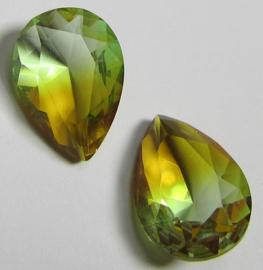 Glass Drop 13 x 18 mm Unfoiled Dual Coated Peridot/Topaz (per 1)