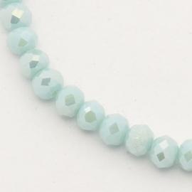 Facet Rondel 3 x 4 mm Luster Opaque Pale Turquoise F620 (per 139 kralen)