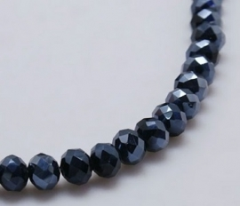 Faceted Rondelles 3 x 4 mm Hematite F705 (per 148 beads)