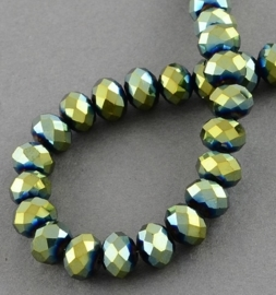 Faceted Rondelles 6 x 8 mm Metallic Blue Green Plated F999 (per 71 beads)