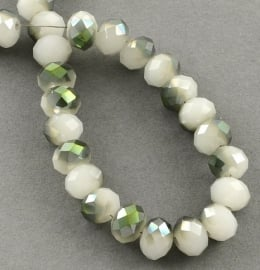 Faceted Rondelles 2 x 3 mm Milky White Green Plated F881 (per 147 beads)