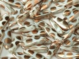 Dagger Beads 5/16mm Alabaster Capri Gold Dots (per 8)