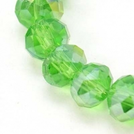 Faceted Rondelles 4 x 6 mm Green AB F659 (per 98 beads)