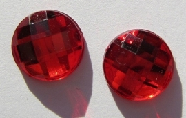 Cabochon Acrylic Coin 12 mm Red G299 (per 8)
