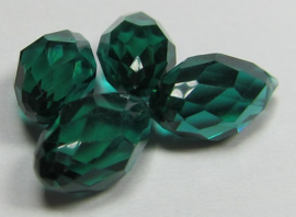 Faceted Drops 12 x 6 mm Emerald (per 4 beads)