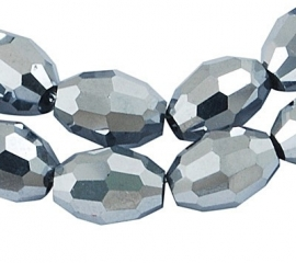 Faceted Oval 4 x 6 mm Silver Plated F281 (per 71 beads)