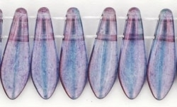 CzechMates Two Hole Daggers 5/16mm Luster - Transparent Amethyst (per 16)