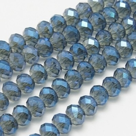 Faceted Rondelles 3 x 4 mm Dull Blue Plated F197 (per 148 beads)