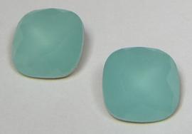 Glas Vierkant 12 mm Turquoise Opal (per stuk)