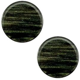 Polaris Cabochon Coin Flat 12 mm Sparkle Dust Dark Classic Green (per 1)
