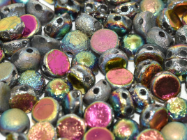 2-Hole Cabochon 6 mm Crystal Etched Full Vitrail (per 6)
