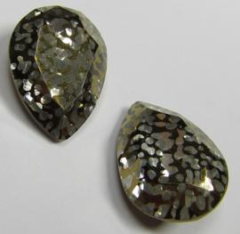 Glass Drop 13 x 18 mm Crystal Gold Patina (per 1)