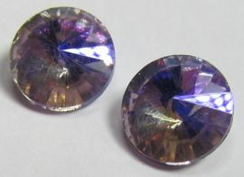 Glas Rivoli 10 mm Crystal Purple Plated (per 2)