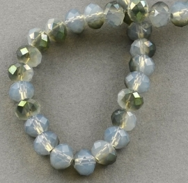 Faceted Rondelles 2 x 3 mm White Opal Olive Plated F836 (per 147 beads)