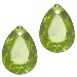 Resin Drop Pendant 10 x 14 mm Olivine Green (per 2)