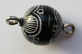 Magnetic Clasp Acrylic Black Silver 10 mm S485 (per 1)