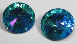 Glass Rivoli 18 mm Aqua Purple Plated (per 1)