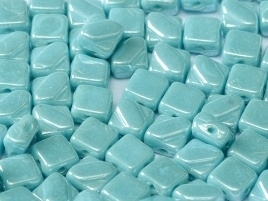 Silky Beads 2-Hole 6 x 6 mm Turquoise Shimmer (per 14)