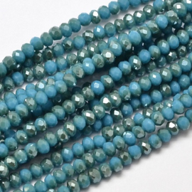 Faceted Rondelles 2 x 3 mm Opaque Blue Golden Plated F1122 (per 148 beads)